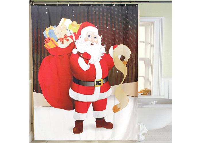 150x180cm Santa Claus Waterproof Shower Curtain Bathroom Christmas Decor with 12 Hooks - 1