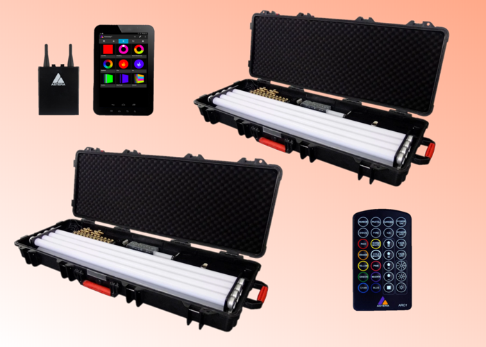 16 x Astera AX1 Pixel Tube Light Kit (Full Set Of 8 Wireless RGB LED Lights) + Control Box + Charger Case - (Fluorescent, Neon, Portable, Dimmable) Bundle - 1