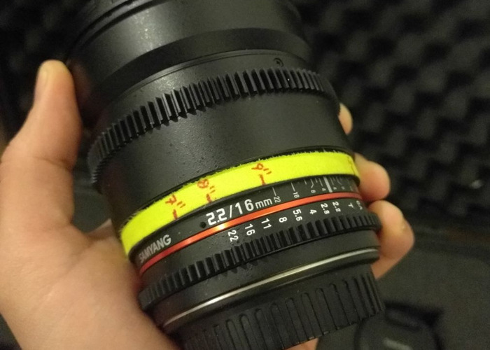 16mm T2.2 Samyang EF-Mount (APS-C Coverage) Declicked W/Gear - 1