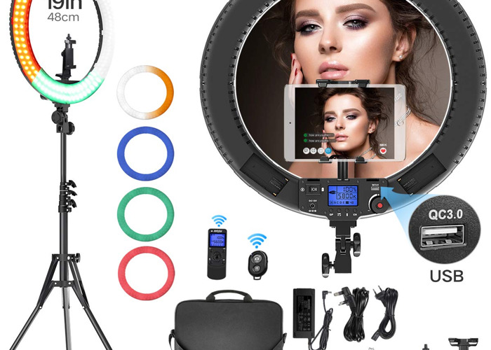 "19"" Ring Light 60W Bi-Color 3000K-5800K Dimming 0%-100% - 1"