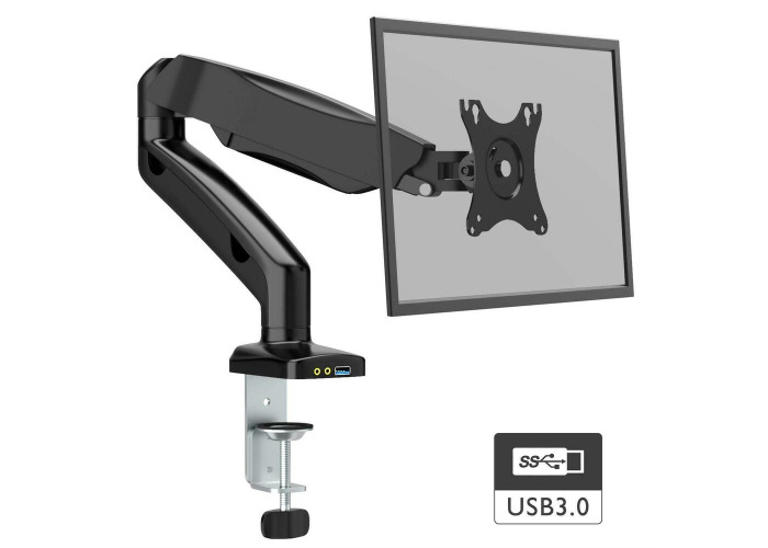 """1Home Full Motion Gas Spring Single Arm Desk Mount Stand For 13""""-27"""" LCD - 1"""