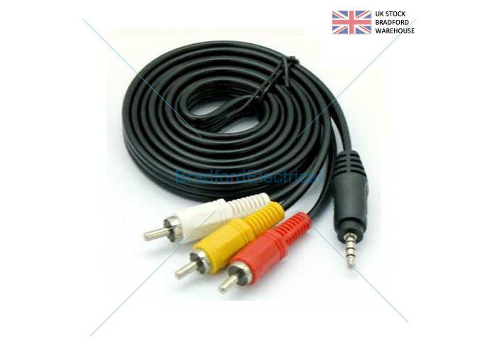 1m 3.5mm JACK 4 Pole to 3 x RCA PHONO Audio Video AV OUT to TV IN Camera Cable - 1