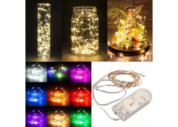 1M Battery Powered 10 LED Copper Wire Fairy String Light Wedding Xmas Party Lamp - 2