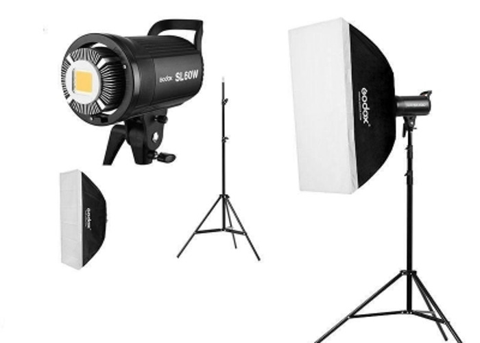 1x Godox SL60W led video light with stand and soft box. - 1