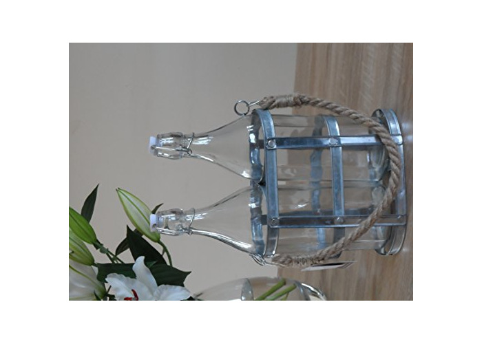 2 Glass Bottles in a Galvanised Holder - 1