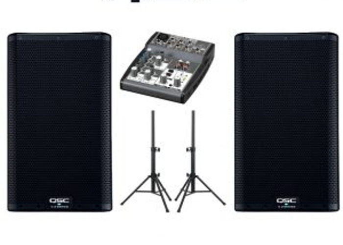 2 high quality PA speakers with mixer and stands  - 1