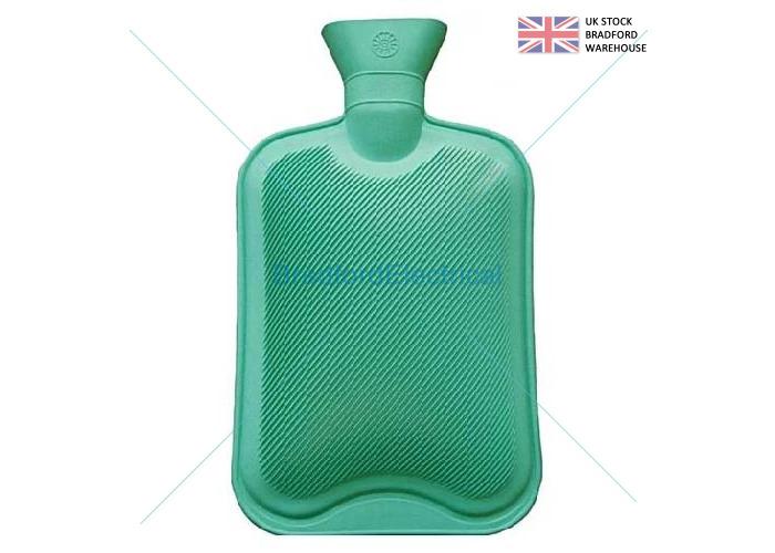2 Litre Liter Hot Water Bottle Hotwater Rubber Warmer Screw Top Quality Green - 1