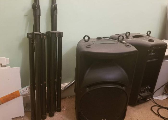 2 Mackie Speakers, 2 Speaker Stands, 1 Behringer Mixer - 1