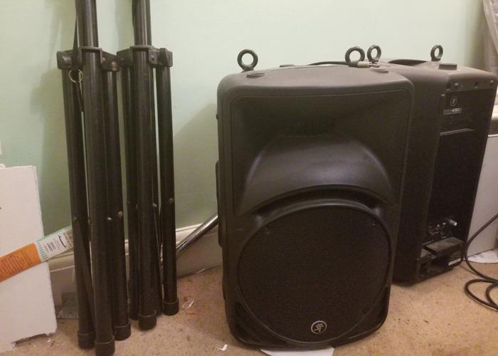 2 Mackie Speakers, 2 Speaker Stands, 1 Behringer Mixer - 2