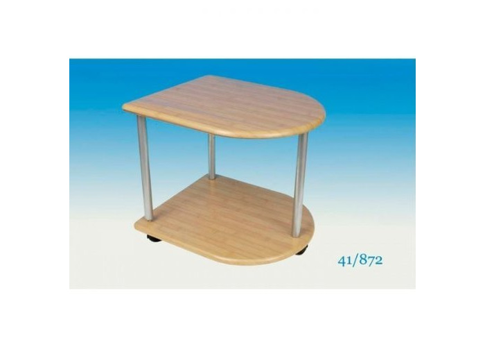 2 Tier Table With Castors Wooden Side/ End Table With Wheels - 1