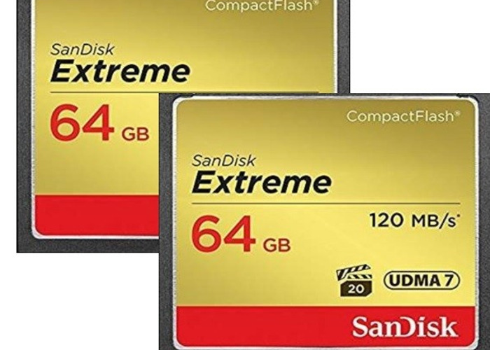 2 x 64GB SanDisk Extreme CF Compact Flash Memory Card - 1
