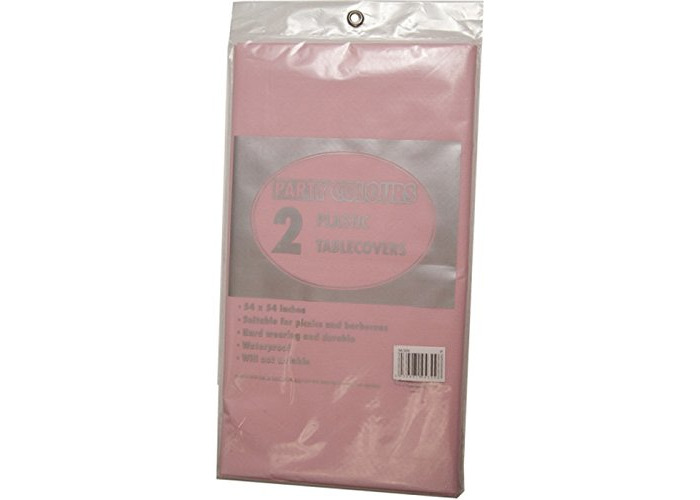 2 x PINK PLASTIC TABLE COVERS - 137cm x 137cm high quality wipeable table cloths FREE DELIVERY - 1