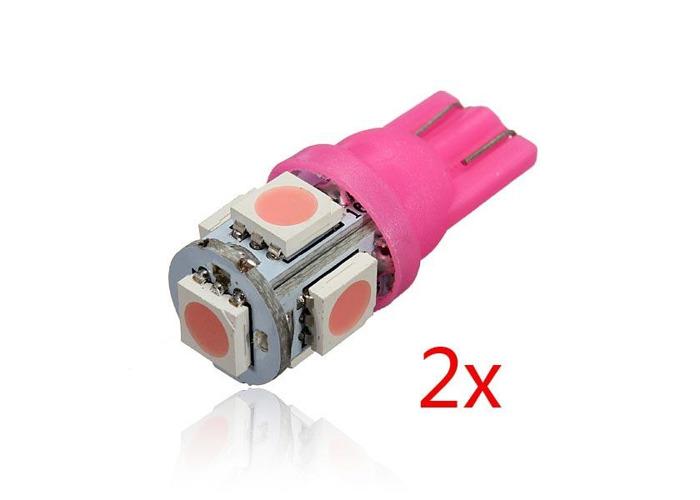 2 x Pink T10 194 168 2825 5SMD 5050 LED Car Wedge Lamp Bulb - 1