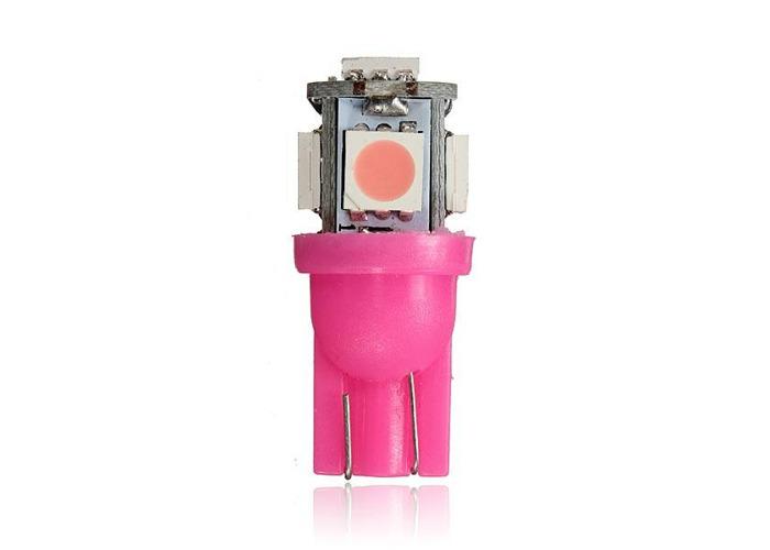 2 x Pink T10 194 168 2825 5SMD 5050 LED Car Wedge Lamp Bulb - 2