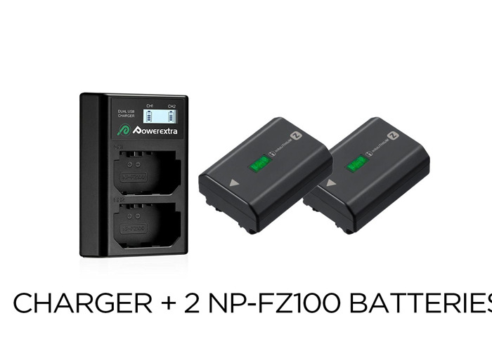 2 x Sony NP-FZ100 batteries + charger - 1