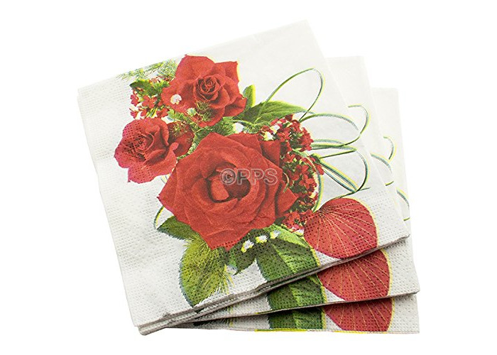 20 3 PLY RED ROSE PATTERN PAPER NAPKINS - 33cm x 33cm Ideal for weddings, christenings, parties, bbq's etc - 1