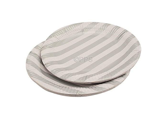 """20 x Silver Striped Round Paper Plates - 23cm/9"""" inch Quality Durable Plates Ideal for hot and Cold Food Free DELIVERY - 1"""