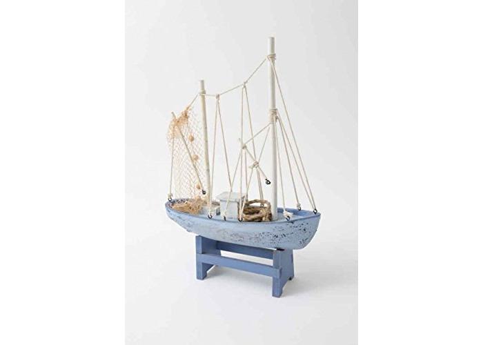 28cm Elegant Netted Wooden Trawler Boat Ocean Lovers Ornament Decoration - 1