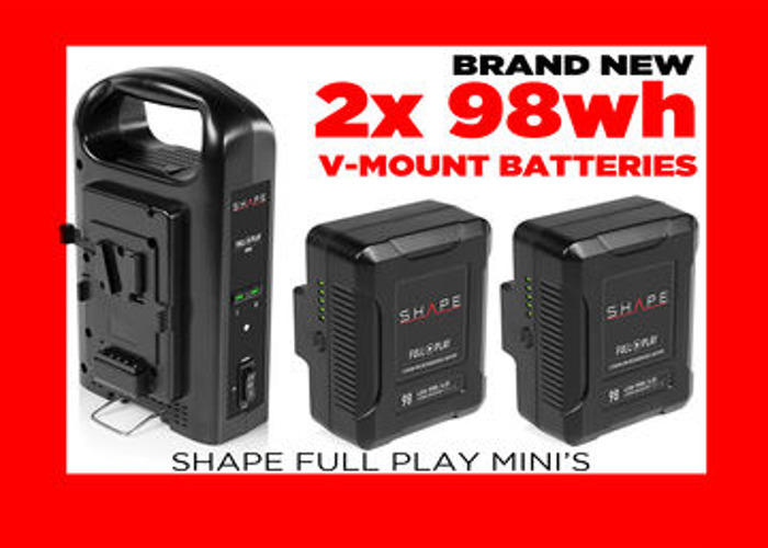 2x 98wh V-Mount Mini Battery w/Dual Charger (gold mnt adptr - 1