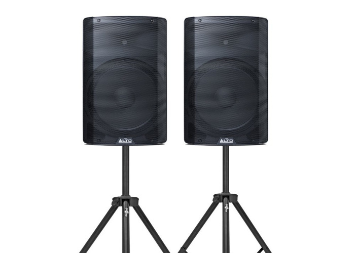 "2x Active Speakers, Stands & Cables. ALTO TX215 15"" 600w - 1"