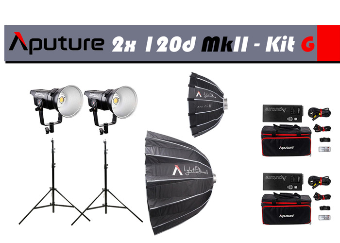 2x Aputure 120D MkII LED Light+Stands+2x LightDome II - 1