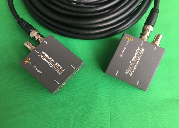 2x HDMI to SDI / SDI to HDMI converter with 15m SDI cable - 2
