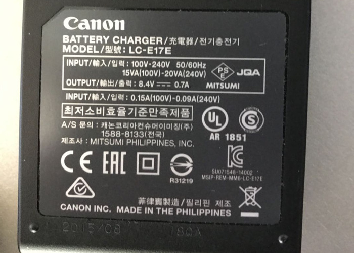 2x Canon LP-E17 Batteries (with UK Charger) - 2
