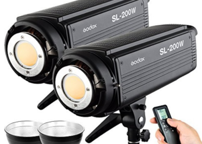 2x Godox SL-200W 5600K LED Light and 2 C Stands - 1