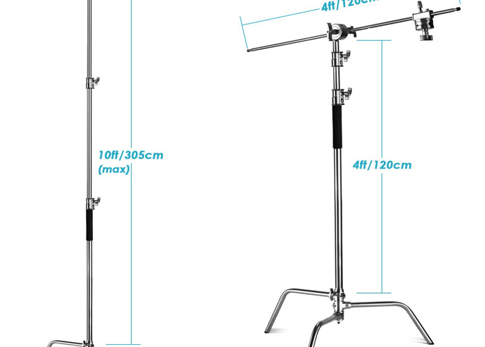 2x Heavy Duty C stand Flag Stand 3m +flag arm 1.2m +knuckles - 2