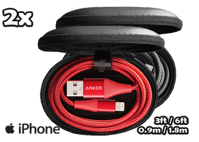 2x Apple iPhone Anker PowerLine+ II Lightning USB Cable MFI Certified •[3ft/6ft]•[Red/Black]• - 1