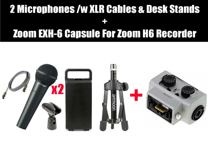 2x Mics plus Zoom EXH-6 Capsule for Zoom H6 - 1