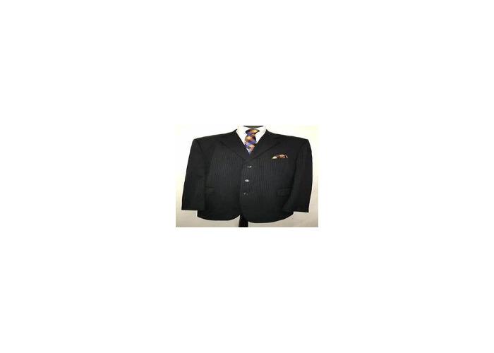 2x stripe black suit, size 48 - 1