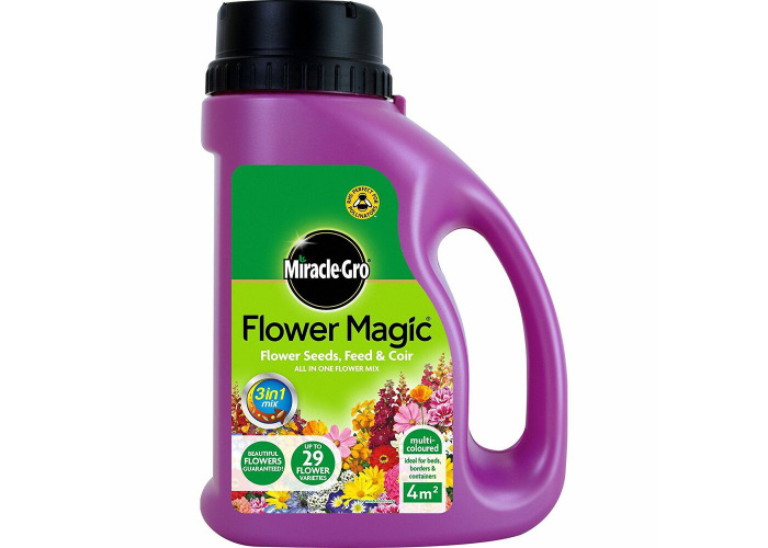 2xMiracle-Gro Flower Magic Multi-Coloured Mix Jug Garden Seeds Feed and Coir New - 1