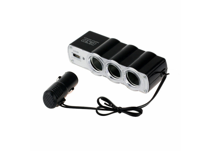 3 Way Triple Car Cigarette Lighter Socket Splitter DC 12V/24V USB Car Charger - 2
