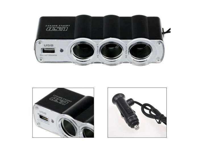 3 Way Triple Car Cigarette Lighter Socket Splitter DC 12V/24V USB Car Charger - 1