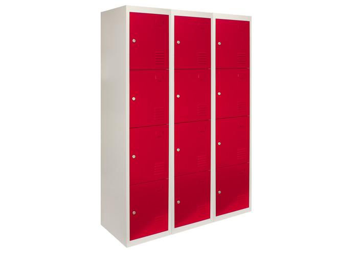 3 x Metal Storage Lockers - Four Doors (Red) | 450mm(d)x380mm(w)x1800mm(h) - 2