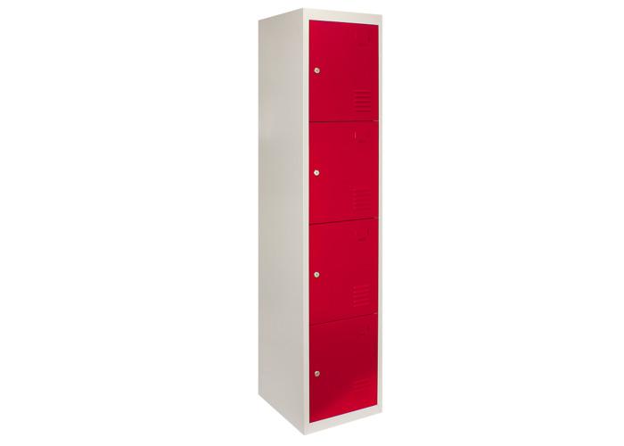 3 x Metal Storage Lockers - Four Doors (Red) | 450mm(d)x380mm(w)x1800mm(h) - 1