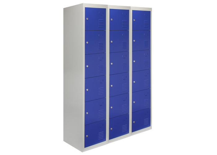 3 x Metal Storage Lockers - Six Doors (Blue) | 450mm(d)x380mm(w)x1800mm(h) - 2