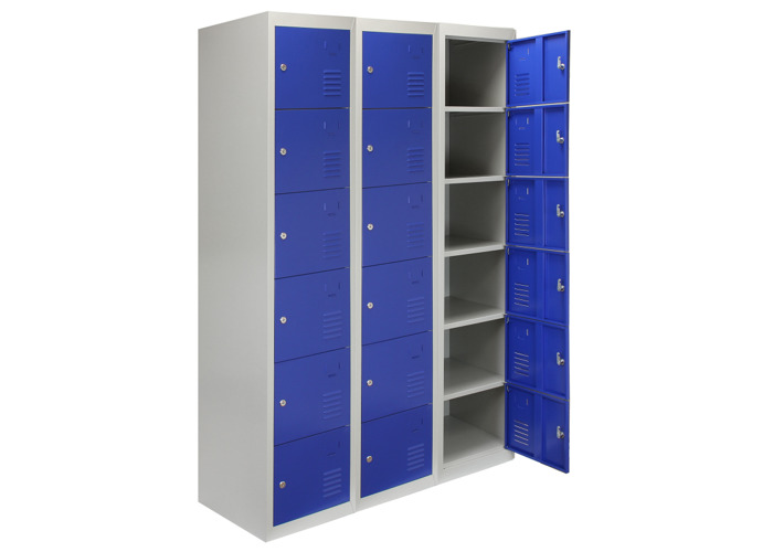 3 x Metal Storage Lockers - Six Doors (Blue) | 450mm(d)x380mm(w)x1800mm(h) - 1