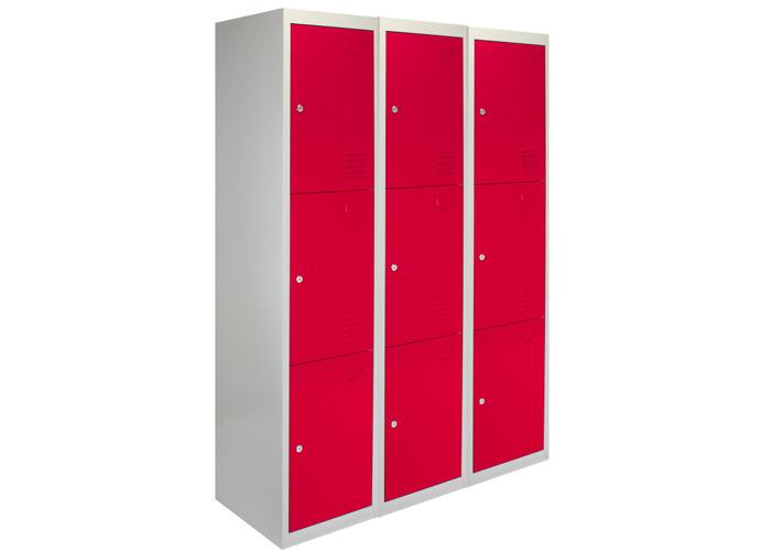 3 x Metal Storage Lockers - Three Doors (Red) | 450mm(d)x380mm(w)x1800mm(h) - 2