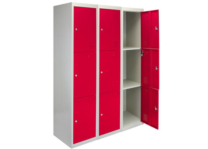 3 x Metal Storage Lockers - Three Doors (Red) | 450mm(d)x380mm(w)x1800mm(h) - 1