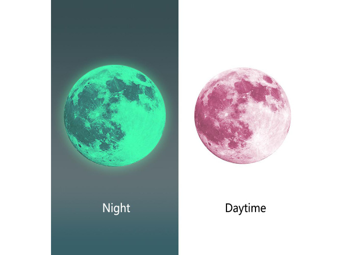 30cm Pink Large Moon Wall Sticker Removable Glow In The Dark Luminous Stickers Home Decor - 2