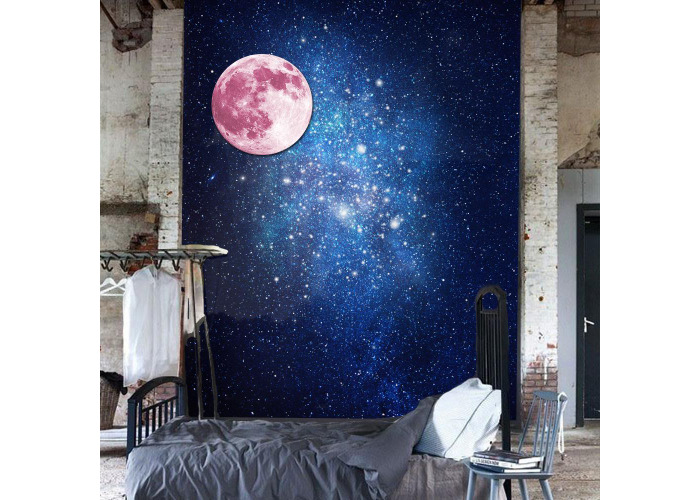 30cm Pink Large Moon Wall Sticker Removable Glow In The Dark Luminous Stickers Home Decor - 1