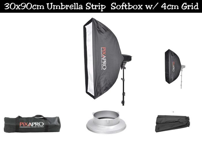 30x90cm Umbrella Strip Softbox w/ 4cm Grid | Bowens Mount - 1