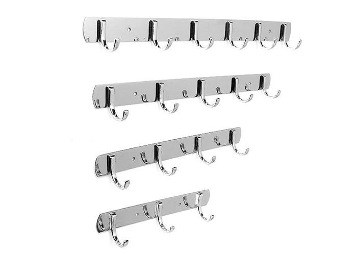 3/4/5/6 Hooks Wall Door Stainless Steel Kitchen Clothes Hook Hanger - 1