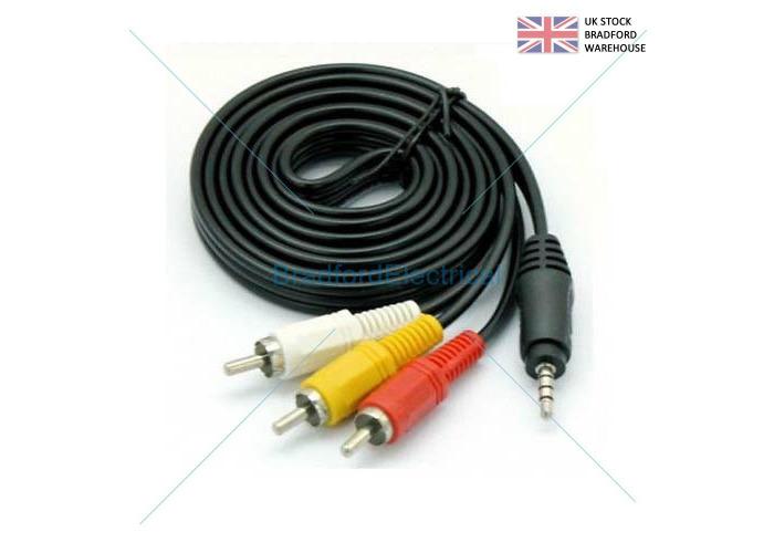 3.5mm 4 Pin Jack Plug to Triple Phono RCA 3 Phonos TV Cable 1m Audio - 1