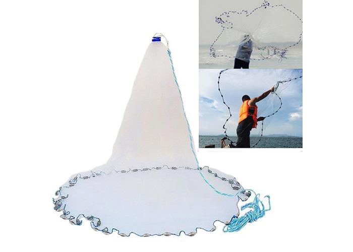 3m 4.2m 5.4m 6.6m Hand Cast Fishing Net Spin Network Bait Fish Net Sinker - 1