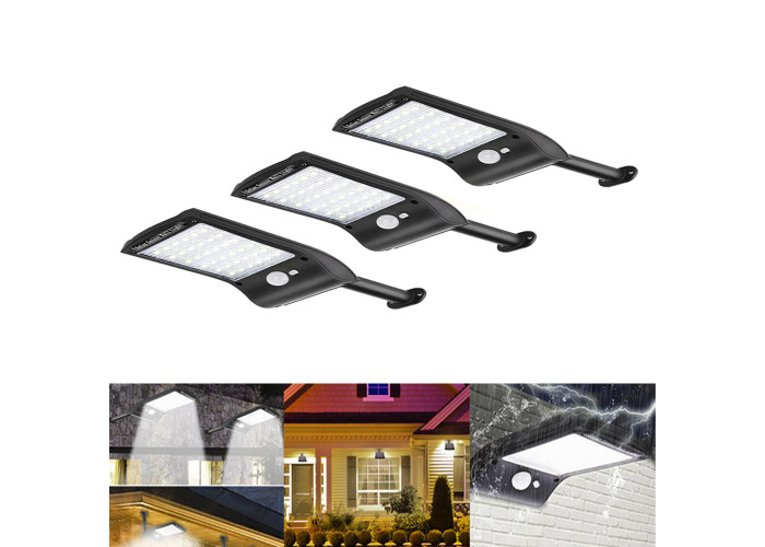 3pcs Solar Powered 36 LED PIR Motion Sensor Waterproof Street Security Light Wall Lamp for Outdoor Garden - 1