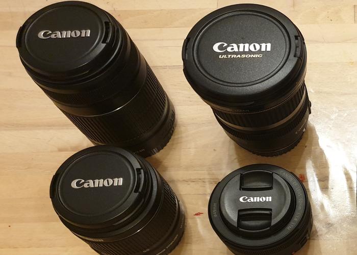 4 Canon lenses: 10-22mm; 55-250mm; 18-55mm; 50mm. - 1