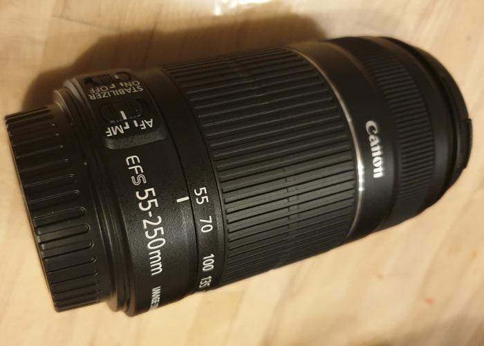 4 Canon lenses: 10-22mm; 55-250mm; 18-55mm; 50mm. - 2